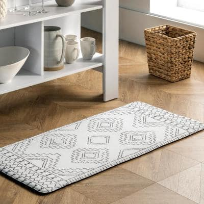 Tribal Moroccan Anti Fatigue Kitchen or Laundry Room Light Grey 18 in. x 30 in. Indoor Comfort Mat