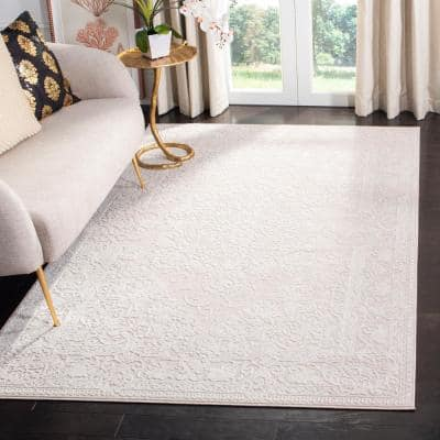 Reflection Cream/Ivory 9 ft. x 12 ft. Floral Border Area Rug