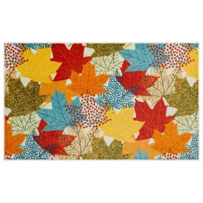 MULTI-COLOR LEAVES MULTI 2 ft. 6 in. x 4 ft. 2 in. Scatter Area Rug