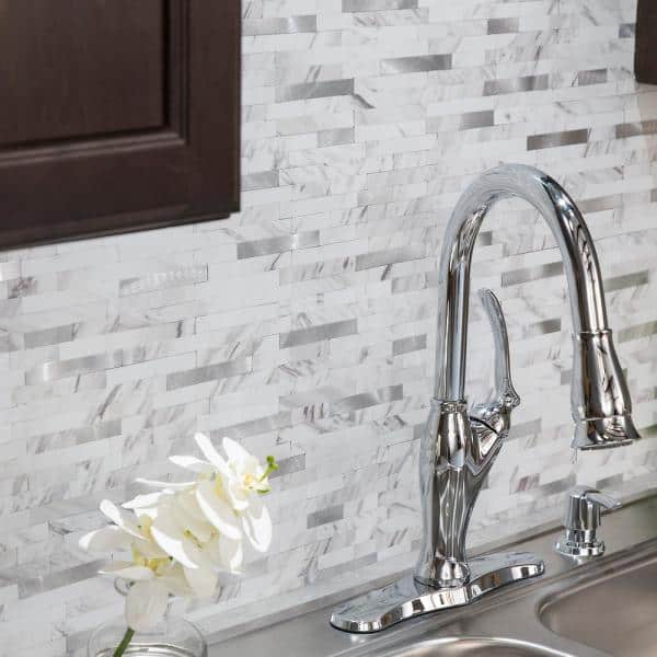 Aspect 11 75 In X 12 In Metal And Composite Peel And Stick Backsplash In Marble Shine Ac005 The Home Depot
