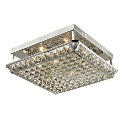 Ibiza 5 in. Polished Chrome Flush Mount/Semi Flush Mount with Crystal and Metal Shade