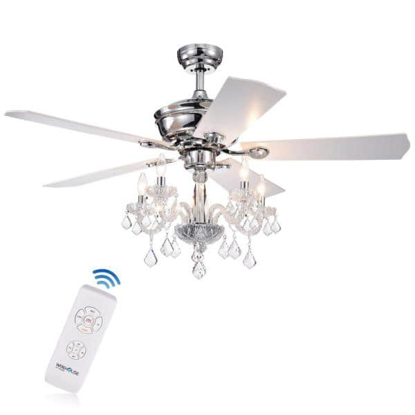 Warehouse of Tiffany - Havorand III 52 in. Indoor Chrome Remote Ceiling Fan with Light Kit and Crystal Branched Chandelier