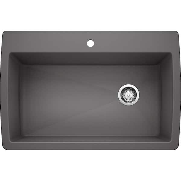 Blanco Diamond Silgranit Dual Mount Granite Composite 33 5 In 1 Hole Single Bowl Kitchen Sink Cinder 441467 The Home Depot