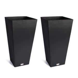Midland 26 in. Black Plastic Tall Square Planter (2-Pack)