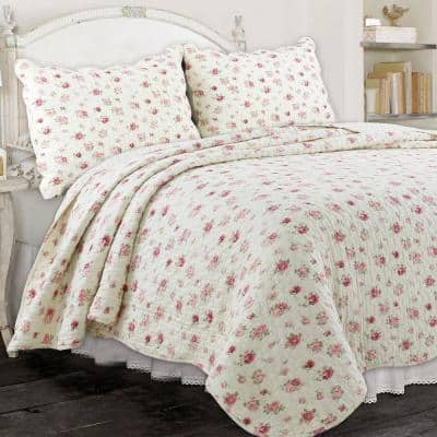 Soft Subtle Ditsy Rose Floral Garden 3-Piece Pink Cream Scalloped Shabby Chic Cotton Queen Quilt Bedding Set