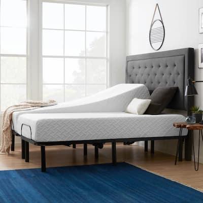 Standard Adjustable Bed and 10 in. Firm Gel Memory Foam Split King Mattress Set