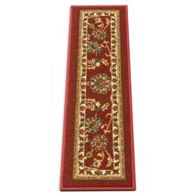 Kings Court Tabriz Red Traditional Oriental Rubber Back Non-Skid 9 in. x 31 in. Stair Tread Cover (Set of 7)