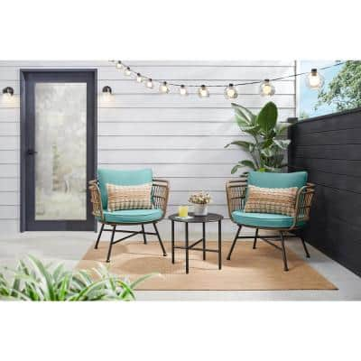 Shiloh Valley 3-Piece Black Steel Outdoor Bistro Set with Aloe Cushions