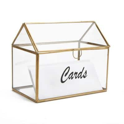 Clear Rectangle Glass Card Holder Box