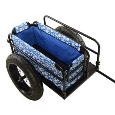 EV Bicycle Cargo and Surfboard Trailer with Blue Cover
