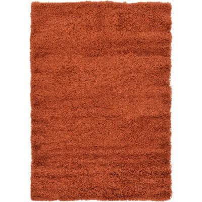 Solid Shag Terracotta 4 ft. x 6' ft. Area Rug
