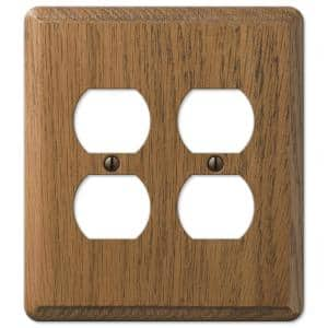 Contemporary 2 Gang Duplex Wood Wall Plate - Medium Oak