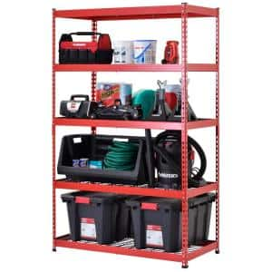 Red 5-Tier Heavy Duty Steel Garage Storage Shelving (48 in. W x 78 in. H x 24 in. D)