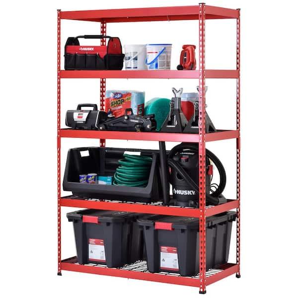 Husky Red 5 Tier Heavy Duty Steel, Garage Tool Storage Ideas Home Depot