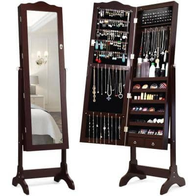 Brown Mirrored Freestanding Jewelry Armoire Organizer Cabinet with Drawer and Led Lights