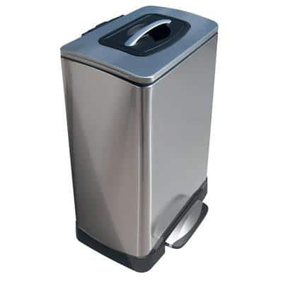 10 Gal. TK Krusher Step Bin with Soft Close in Stainless Steel