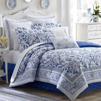 Charlotte 4-Piece Blue Floral Cotton Full Comforter Set