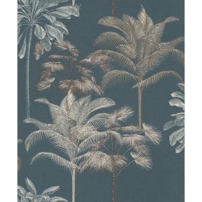 Tropical Decoration Wallpaper Stonewashed Indigo Paper Strippable Roll (Covers 57 sq. ft.)