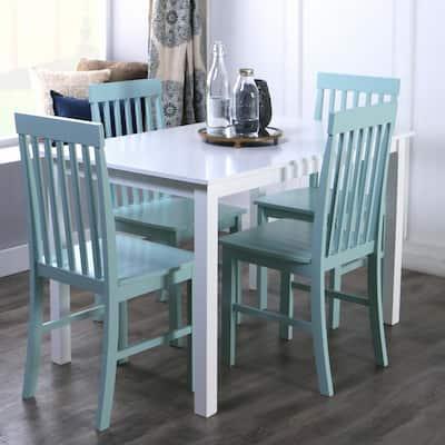 5-Piece Modern Farmhouse Dining Rooom Set - White/Sage