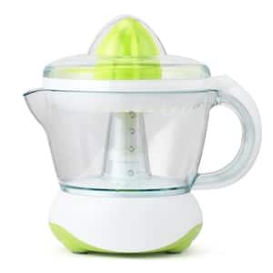 40 W, 24 oz. White/Green Electric Citrus Juicer, Dust Cover, Easy Pour Spout