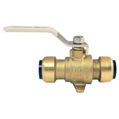 3/4 in. Brass Push Ball Valve with Flange and Drain