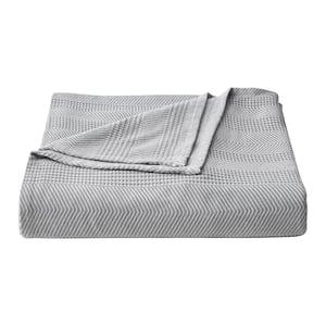 Chevron 1-Piece Grey Stripe Cotton Full/Queen Blanket