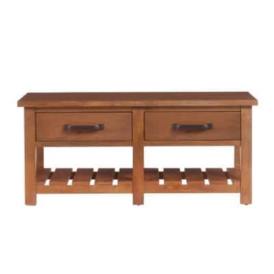 Danforth 42 in. Antique Patina Large Rectangle Wood Coffee Table with 2-Drawers