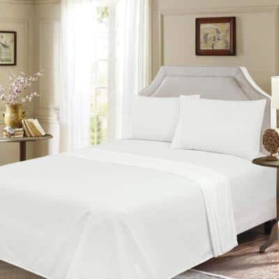 Ultra-Soft 4-Piece White Solid 300-Thread Count Sateen 100% Cotton King Sheet Set