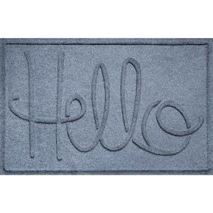 Hello 23 in. x 35 in. PET Polyester Doormat Bluestone