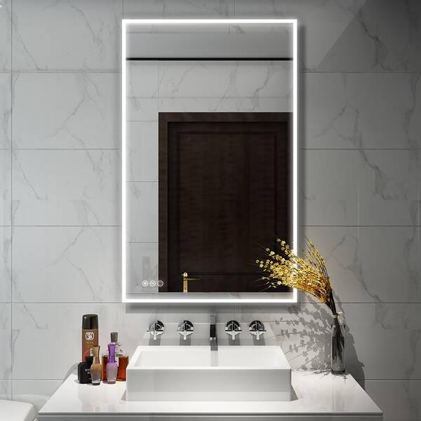 Boyel Living 60 In W X 36 In H Frameless Rectangular Led Light Bathroom Vanity Mirror In Clear Kf Mc04 6036sf2 The Home Depot