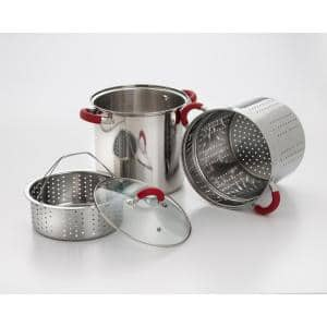 12 Qt. Stainless Steel Multi-Cooker Pasta Pot with Lid and Red Silicone Handles