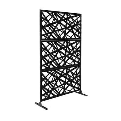 New Style MetalArt Laser Cut Metal Black AlgebraStrike Privacy Fence Screen (24 in. x 48 in. per Piece 3-Piece Combo)