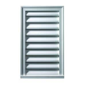 24 in. x 24 in. Functional Rectangular White Polyurethane Weather Resistant Gable Louver Vent