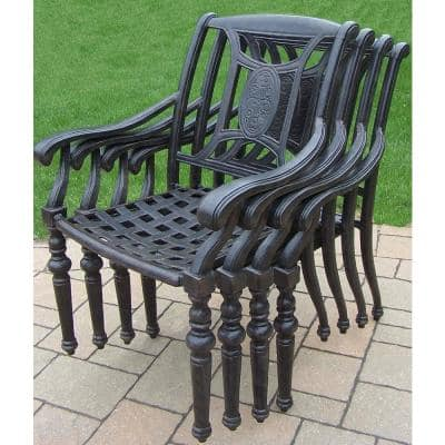 Black and Brown Stackable Aluminum Outdoor European Style Cast Dining Chairs with Brown Sunbrella Cushions (4-Pack)