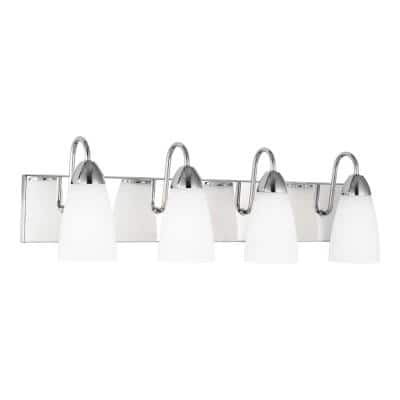 Seville 28.38 in. 4-Light Chrome Vanity Light with LED Bulbs