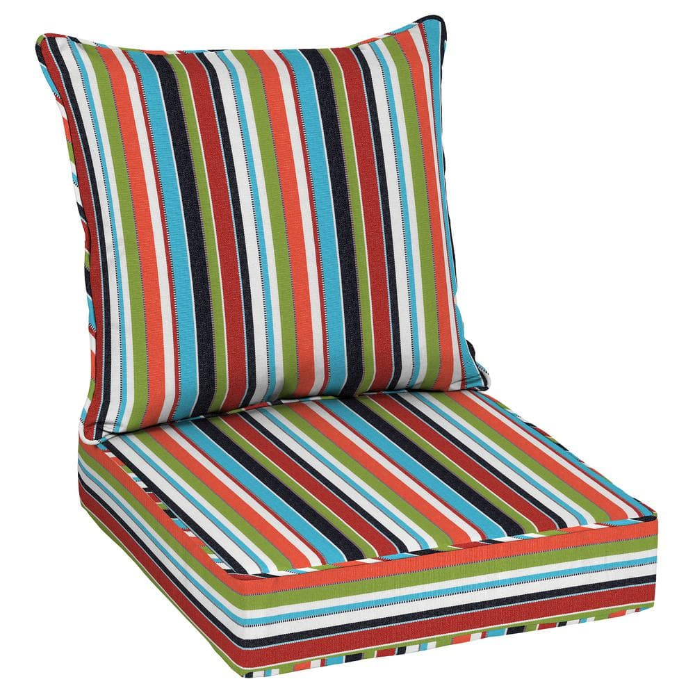 Indoor  Outdoor 2 Matching Wicker Chair Cushions Choose Size Sunbrella Carousel Confetti 2 Piece Wicker Chair Cushion Set