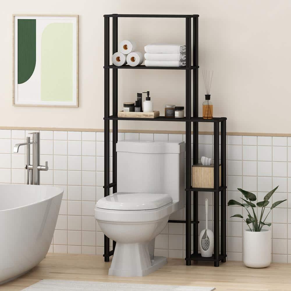 Black Toilet Space Saver With 5 Shelves, Black Bathroom Space Saver