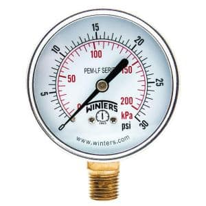 PEM-LF Series 2.5 in. Lead-Free Brass Pressure Gauge with 1/4 in. NPT Bottom Connection and 0-30 psi/kPa