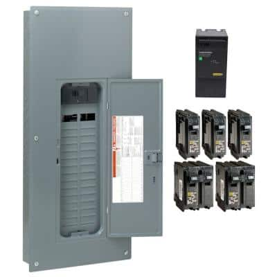 Homeline 200 Amp 30-Space 60-Circuit Indoor Main Breaker Qwik-Grip Plug-On Neutral Load Center with Surge SPD Value Pack