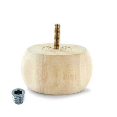 1-7/8 in. x 3-5/8 in. Unfinished Solid Hardwood Round Bun Foot