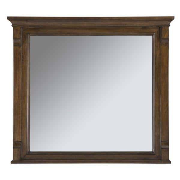 Home Decorators Collection 36 In W X 32 In H Framed Rectangular Beveled Edge Bathroom Vanity Mirror In Walnut Cdnm3632 The Home Depot