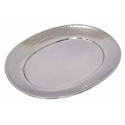 20 in. x 15.75 in. Stainless Steel Hammered Oval Tray