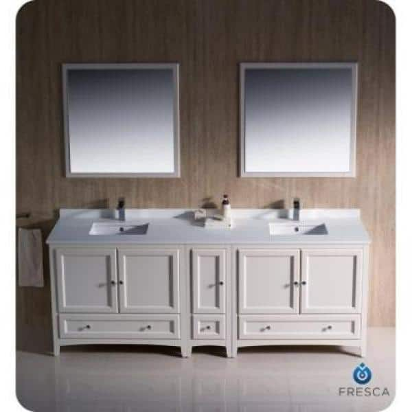 Fresca Oxford 84 In Double Vanity In Antique White With Ceramic Vanity Top In White And Mirror With Side Cabinet Fvn20 361236aw The Home Depot