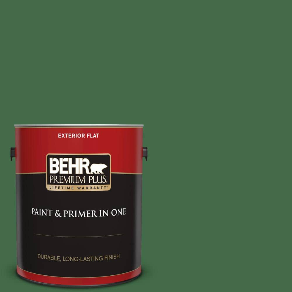 Behr Premium Plus 1 Gal M400 7 Garden Cucumber Flat Exterior Paint And Primer In One 430001 The Home Depot