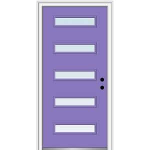 32 in. x 80 in. Davina Left-Hand Inswing 5 Lite Clear Low-E Glass Painted Steel Prehung Front Door on 4-9/16 in. Frame