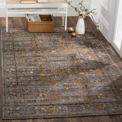 Classic Vintage Gray/Gold 6 ft. x 9 ft. Border Area Rug
