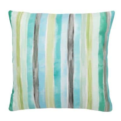 Olie Multi-Green Striped Square Outdoor Throw Pillow