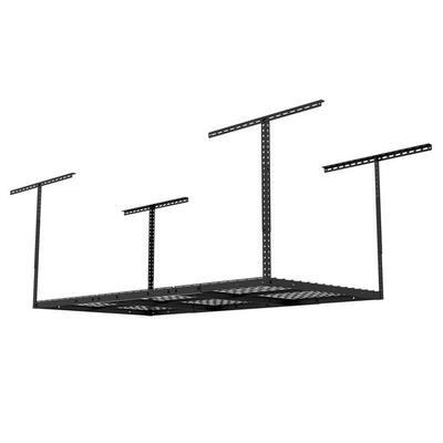 Black Adjustable Height Steel Overhead Garage Storage Rack (36 in W x 72 in D)