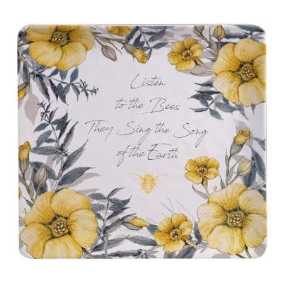 12.5 in. Bee Sweet Square Multicolored Platter