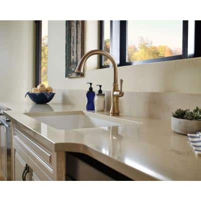 Cassidy Single-Handle Standard Kitchen Faucet with Side Sprayer in Champagne Bronze